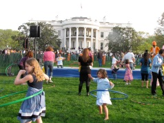 Hula hooping in front of the White House