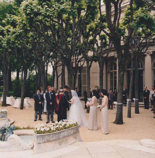 Rear garden with pleached linden grove...My dad walked me down the aisle and then performed the ceremony!