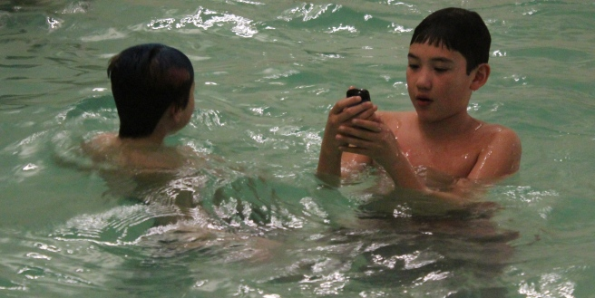 """""""Say cheese!""""...(That's a waterproof camera, by the way)."""