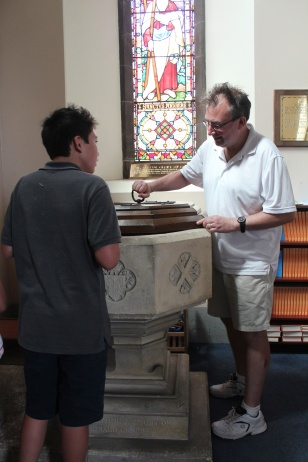 The baptismal font
