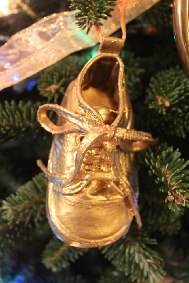 …the best preschool project ever! (His own baby shoe, spray painted gold).