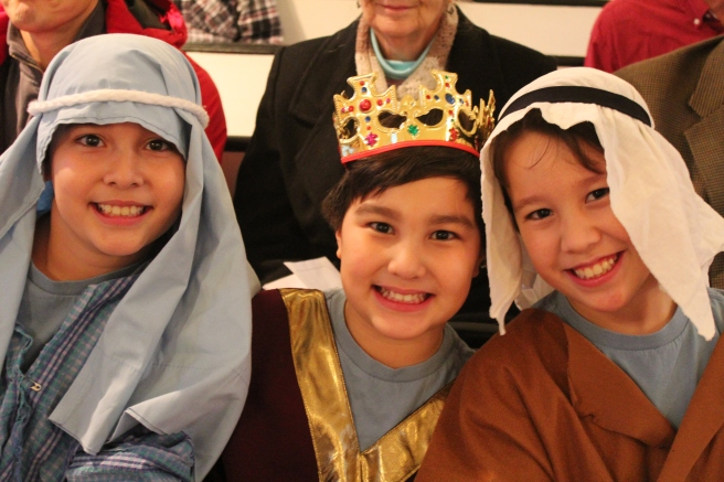 The triplets performed in the nativity play.