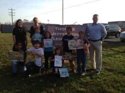 Delivering donations for Thomas Jeffereson Elementary School post-earthquake