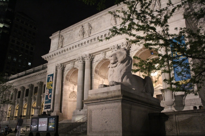 "The famous library lions, named ""Patience"" and ""Fortitude."""