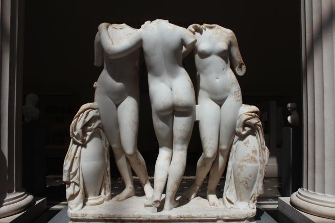 Three Graces - Aglaia (Beauty), Euphrosyne (Mirth), and Thalia (Abundance), Roman, 2nd Century A.D. copy of a Greek work, 2nd century B.C.