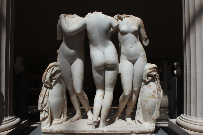 Three Graces - Aglaia (Beauty), Euphrosyne (Mirth), and Thalia (Abundance), Roman, 2nd Century A.D. copy of a Greek work, 2nd century B.C.