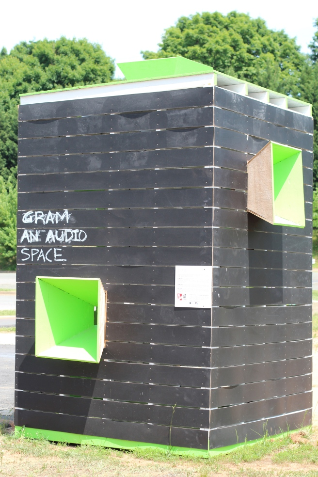 A sound booth where people can record their personal stories.