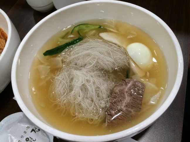 Naengmyeon - buckwheat noodles in icy cold beef broth.