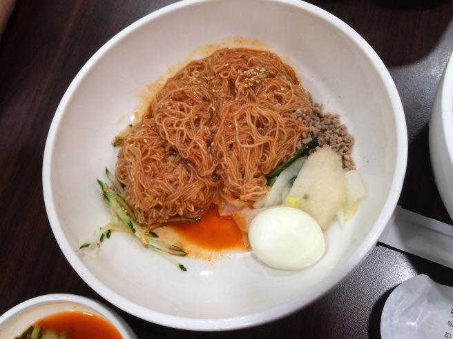 Bibim naengmyeon - noodles mixed with spicy gochujang (fermented red chili sauce) and sesame oil.