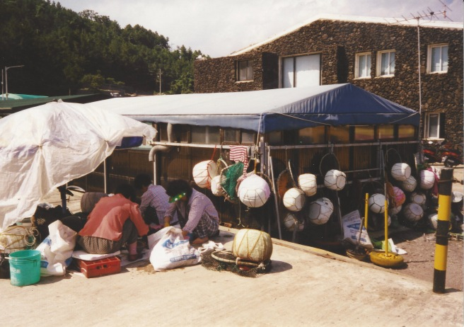 Haenyeo sorting through their catch.