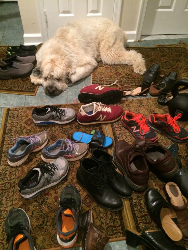 Faithfully guarding her flock of shoes.